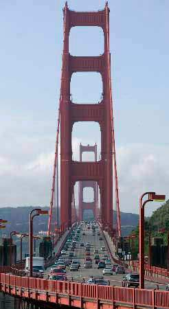 looking back over the golden gate bridge