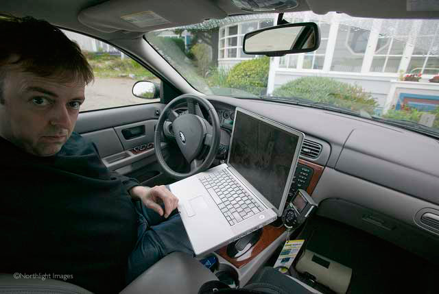in car with computer