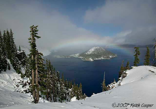 rainbow over wizard Island, crater lake oregon