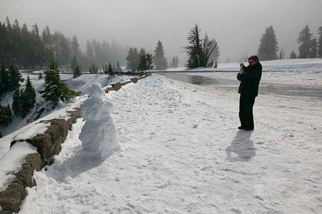 snowman at crater lake national park, oregon