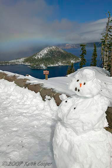snowman at crater lake, oregon