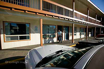 leaving motel at Bend, Oregon