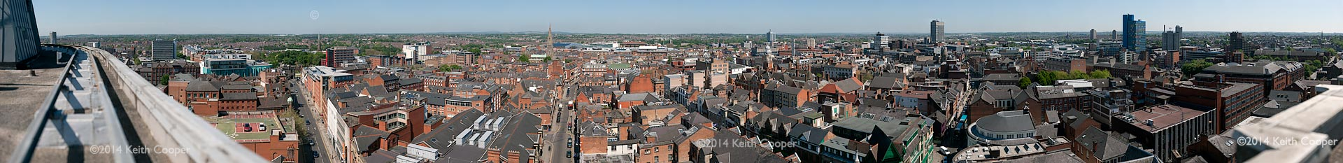 view of the city of Leicester from New walk centre 'A' block