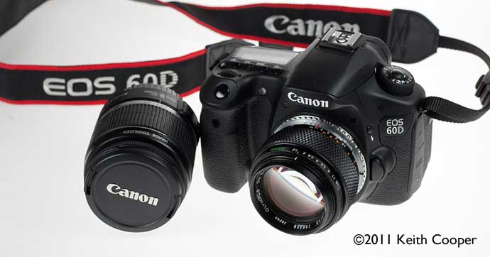 Canon 60D fitted with manual focus lens