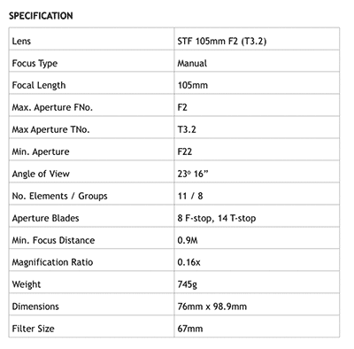 105mm f2 specifications