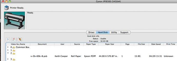 print file in place on the printer's hard disk