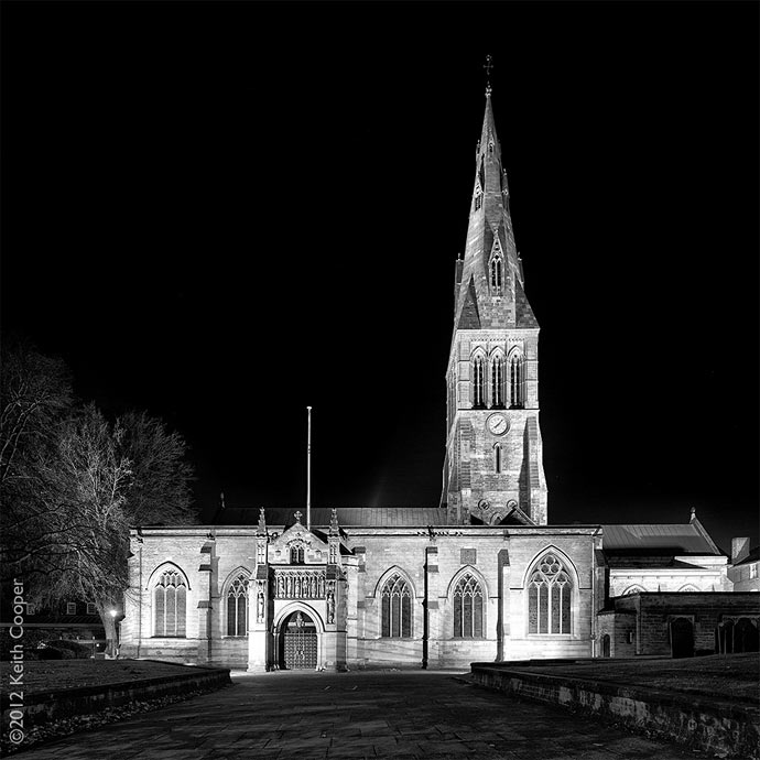 Leicester Cathedral at night
