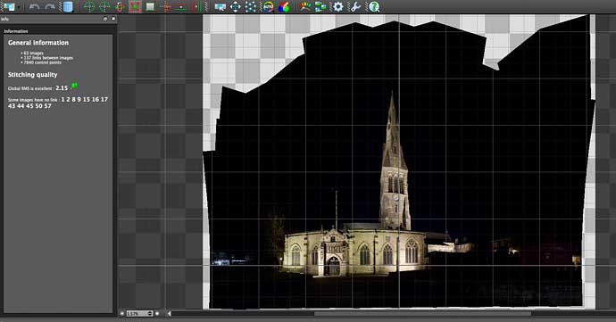 stitching output from shots of Leicester cathedral