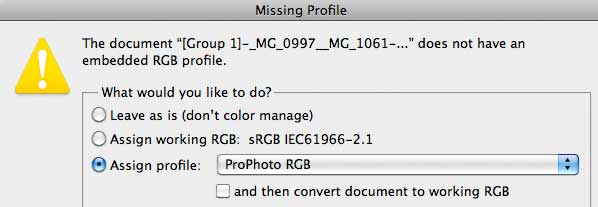 photoshop missing profile warning