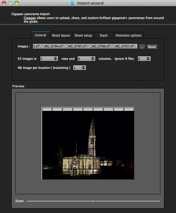gigapan epic pro images imported - night shot