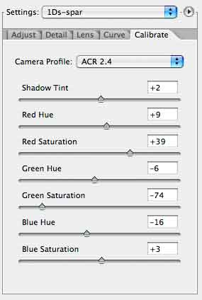 modified acr calibration settings