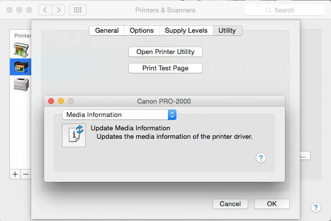 updating print driver with new paper information
