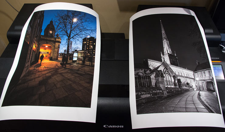two prints made using canon premium fine art smooth paper