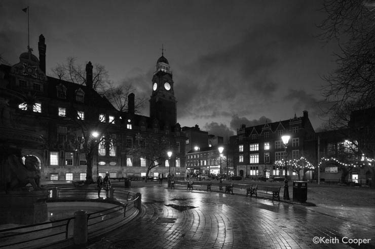 Leicester town hall at dusk - monochrome
