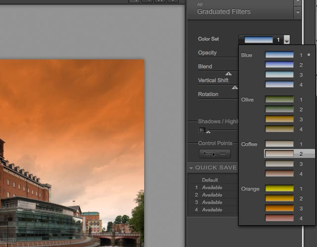 graduated colour filter options