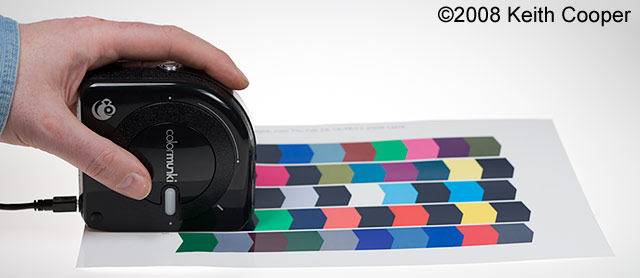 scanning test chart with colormunki