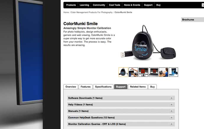 online help for the colormunki smile