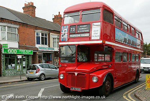 red london bus in Leicester JJD 563D RML2563
