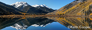 large panoramic print of a lake in the rockies