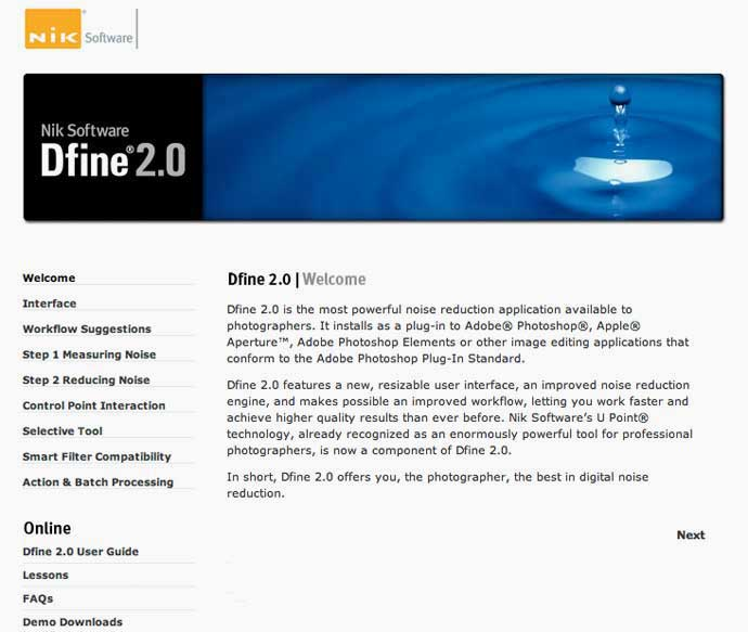 software information page Dfine 2.0
