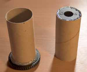 use two slightly different toilet roll tubes to make the pinhole adapter