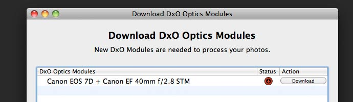 dxo optics lens/camera data modules