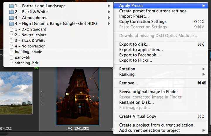 image pprocessing preset options