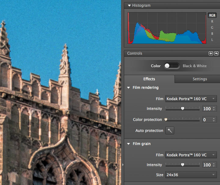Colour adjustment and protection for overly strong colours