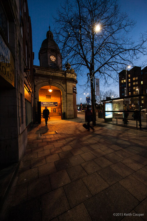 station entrance at dusk - Leicester
