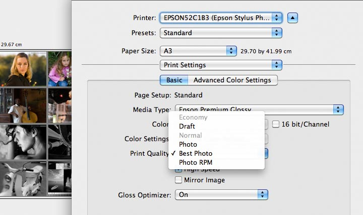 selecting print resolution