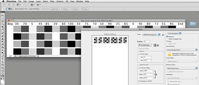 test pattern for Black and white profiling