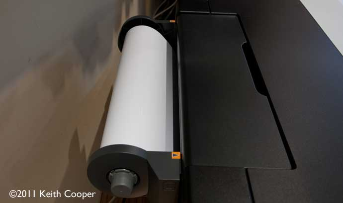 roll paper loaded into printer