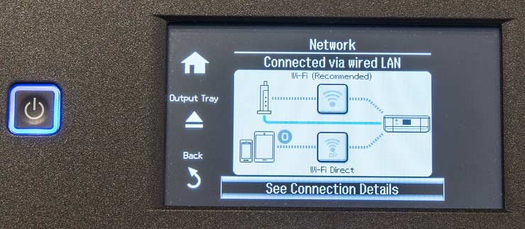 printer showing network connectivity