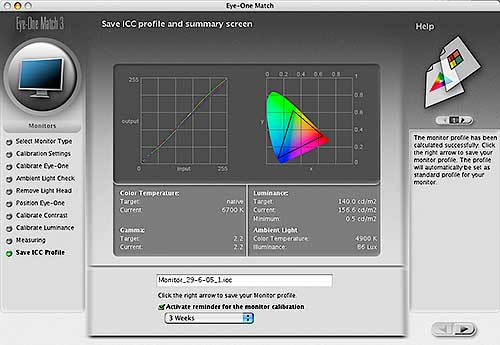Profile and gamut display for Apple 23 inch display