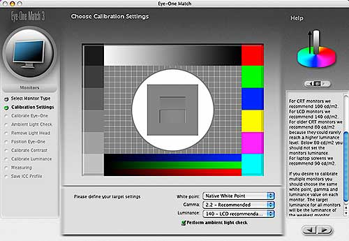 choosing advanced calibration settings
