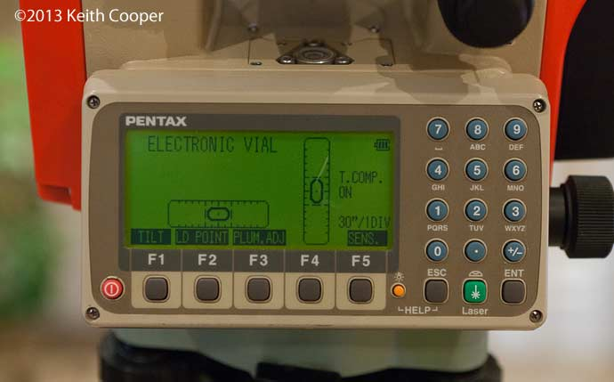 electronic leveling of Pentax total stations