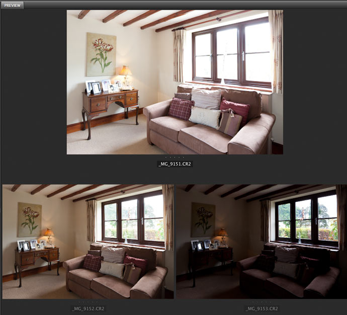 three raw files to use for hdr image