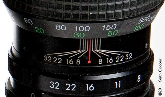 depth of field scale on 500mm lens