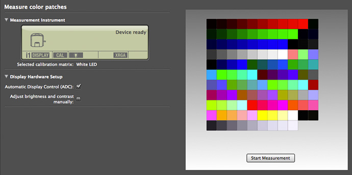 colour patch setup for i1 display pro
