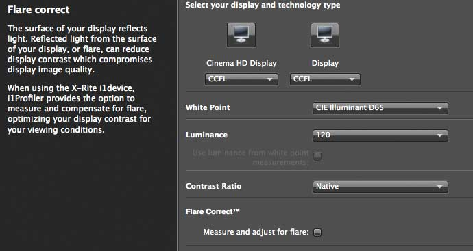 Flare correction options
