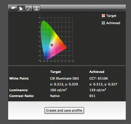 details of screen calibration data