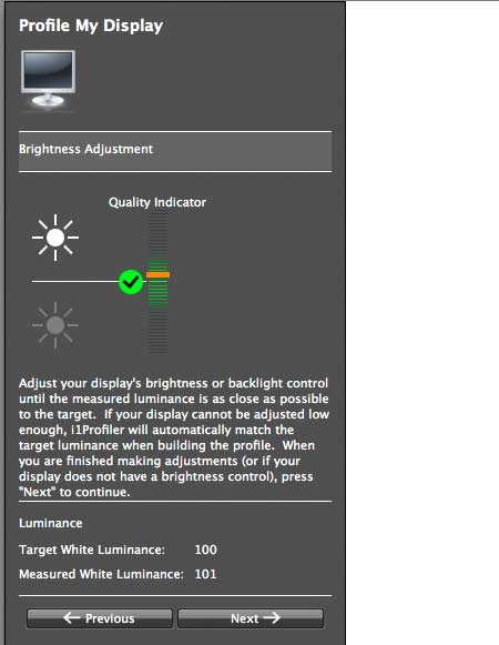 adjustment of display brightness
