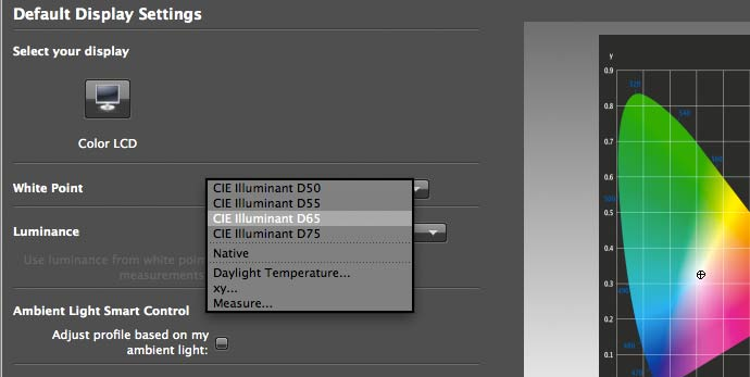 settings for display calibration