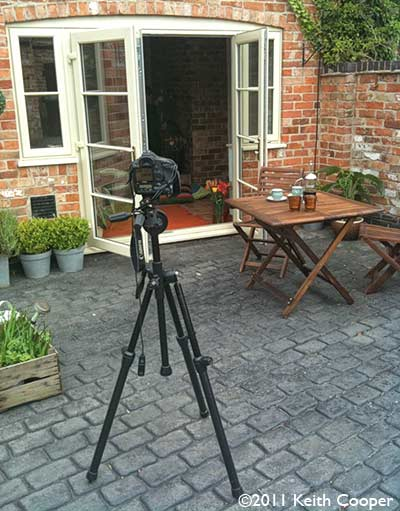 camera and tripod set up for photography
