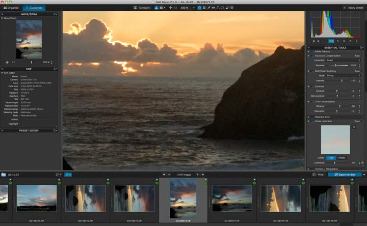 file processing with DxO Optics Pro