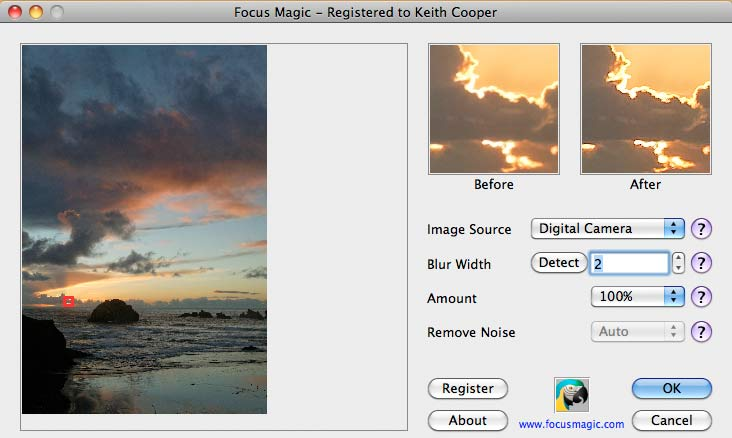 sharpening with Focus Magic plugin