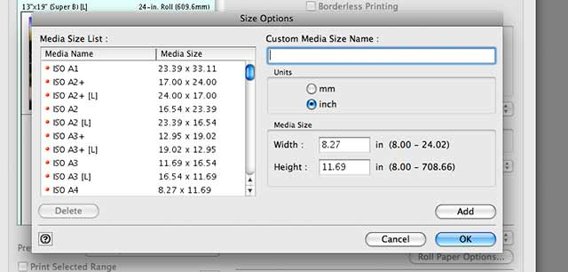 setting custom media sizes