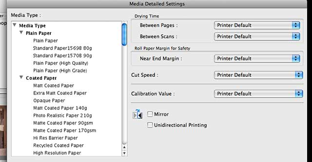 media settings for each paper type