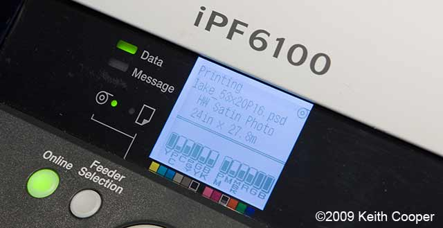 ipf6100 printer job information display