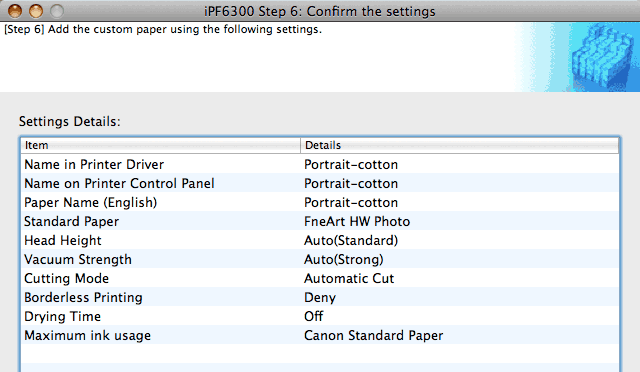 media settings for paper to print with